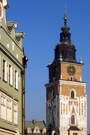 Medieval tower of townhall on Krakows Market Square, Poland