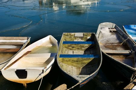 massachussets: Rowboats in fishermen village of Rockport on Atlantic coast of Massachussets