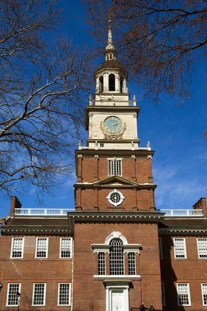 the center of the city: Independence Hall - famoso hito hist�rico en el centro de la ciudad de Filadelfia, EE.UU.