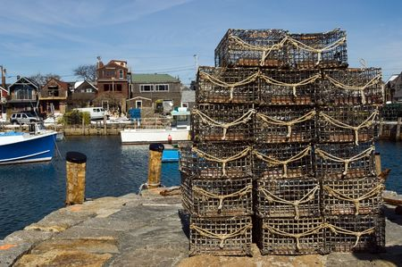 lobster boat: Lobster traps in fishing village of Rockport, Massachusetts Stock Photo