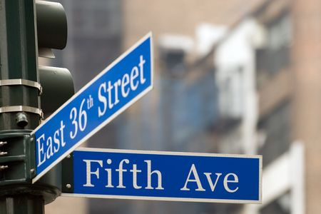 avenues: Fifth Avenue and East 36th crossing, midtown Manhattan, NYC Stock Photo