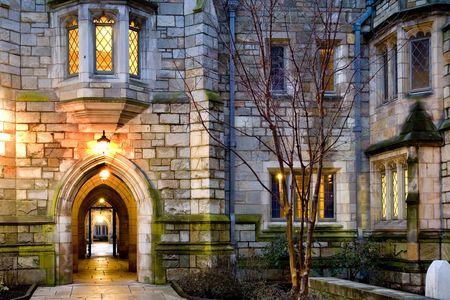 akademik: Yale University Campus wieczorem New Haven Connecticut