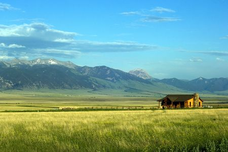 prairie: Sunny ranch in the mountains of Montana state