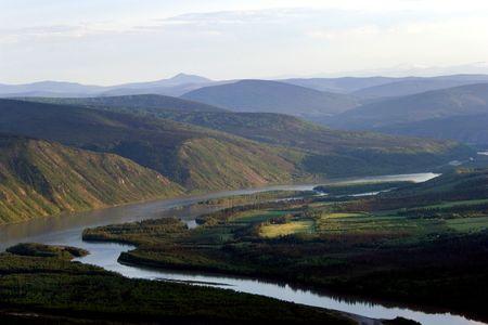 Yucon Fluss rund Dawson City, Klondike, Kanada  Standard-Bild
