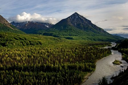 moutains: Moutains and Matanuska river along Alaskan highway 1