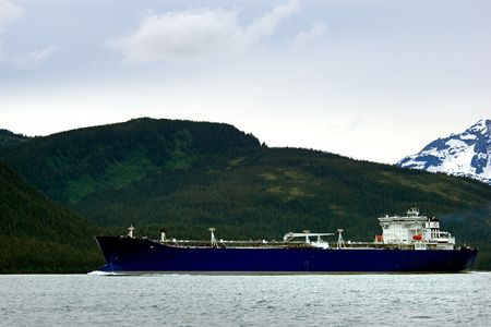 Oil tanker going to refinery near Valdez, Alaska photo