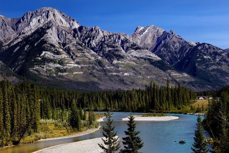 rockies: Bow River in Banff National park, Canadian Rockies Stock Photo
