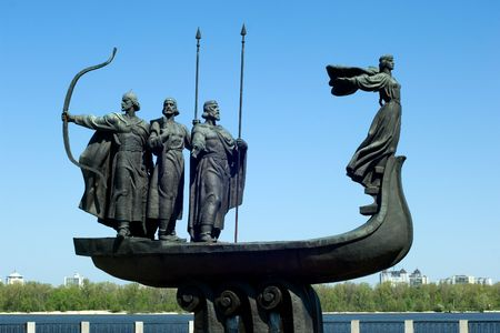 dnieper: A famous monument to the mythical founders of Kiev on the Dnieper river Stock Photo
