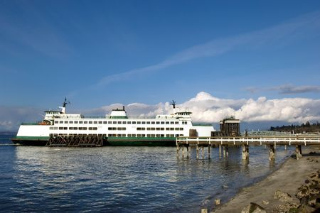 Ferry in Mukilteo terminal on route to Whitbey island