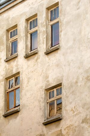 Windows of the old 1800s building in Lvov downtown, Ukraine