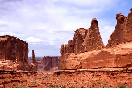 canyonland: Red rocks panorama in Arches National park, Utah