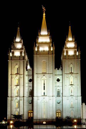 Mormon temple of Salt Lake city illuminated at night