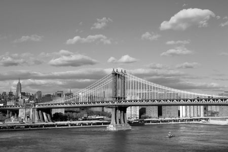 Manhattan suspension bridge, connecting Brooklyn and Lower Manhattan across East river Stock Photo
