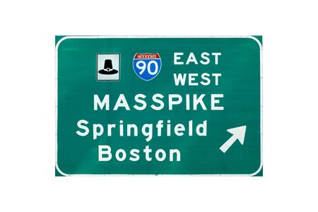 turnpike: Entrance sign on interstate I-90 (Massachusetts turnpike) Stock Photo