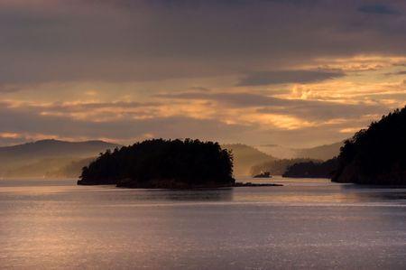 Sunset over San Juan islands in Washington state Stock Photo - 3264836