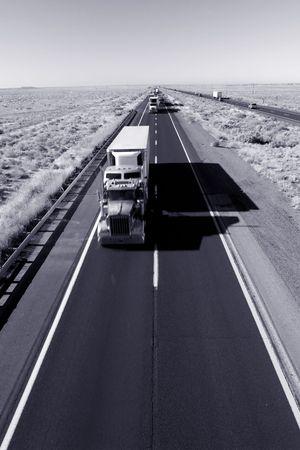 Truck delivery on Arizona I-40 highway across USA