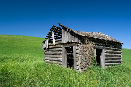 Ruins of farm  in rural Idaho, USA Stock Photo