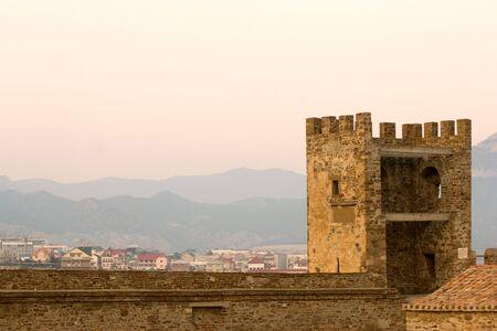 Old Genoese fortress in the city of Sudak, Crimea, Ukraine photo