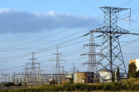 Transmission towers of nuclear power plant Stock Photo - 3599096