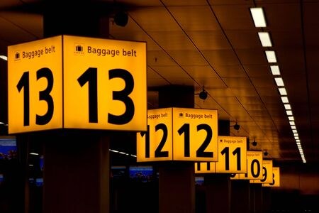 Baggabe belts in Schiphol airport, Amsterdam Stock Photo - 3696053
