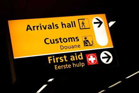 customs: Transfer sign at the gates of Schiphol airport Amsterdam Stock Photo