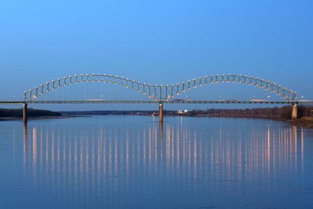 I-40 Interstate through Hernando de Soto bridge in Memphis, TN Stock Photo
