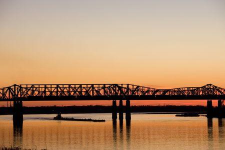 tn: Mississippi river under old bridge in Memphis, TN Stock Photo