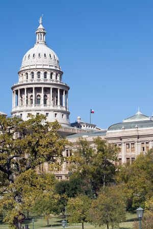 senate: State Capitol building with monument in Austin, Texas Stock Photo