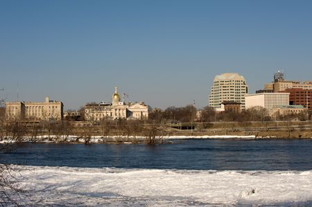 Panorama of Trenton, NJ with Delaware river photo