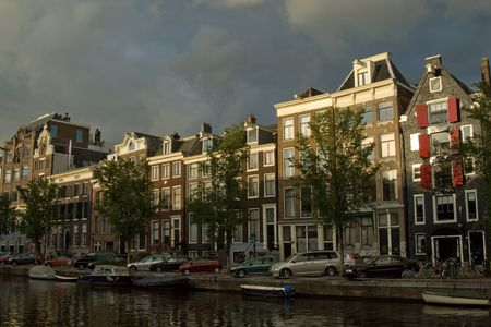 merchant: Typical merchant houses along the canal, Amsterdam