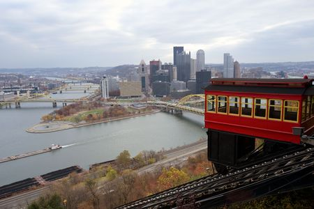 allegheny: View from mt. Washington on downtown Pittsburgh with Duquesne incline Stock Photo