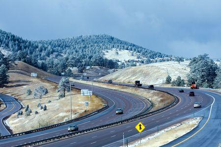 across america: Interstate I-70 near Denver in Colorado