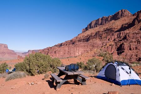 camping site: Tent on a wilderness camping site in Utah