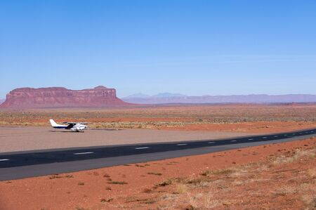 small plane: Small plane in local airport near Monument Valley, Arizona Stock Photo