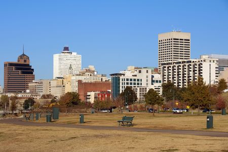Memphis skyline from Tom Lee park, Tennessee Stock Photo