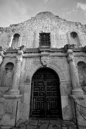 Entrance to Alamo mission in San Antonio, Texas photo