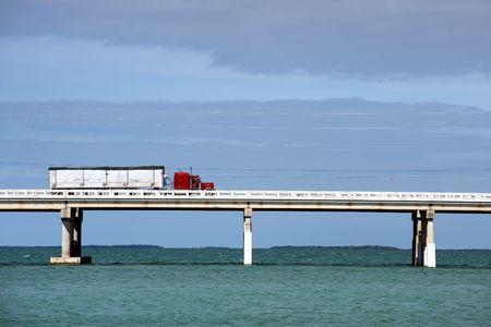 Truck driving on Bahia Honda bridge of Overseas highway, Florida Keys