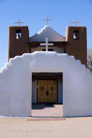 pueblo: Historical catholic church in Taos Pueblo, New Mexico Stock Photo