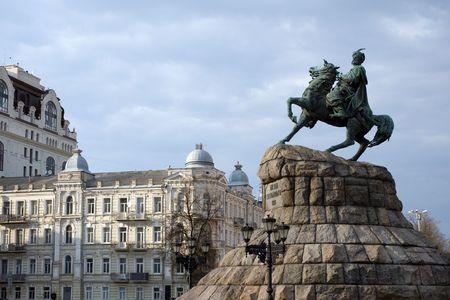 Bogdan Khmelnitsky square in historical part of Kiev, Ukraine