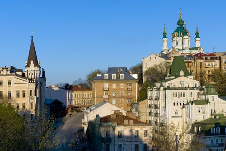 Famous St Andrew Church and Andreevsky descent in Kiev, Ukraine Stock Photo