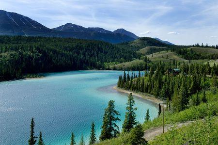 droomhuis: Droomhuis op Emerald Lake, Yukon, Canada Stockfoto