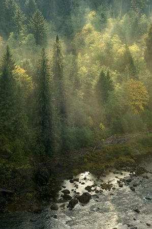 Sunrays on mountain stream of Snoqualmie Falls, Washington Stock Photo - 4800843