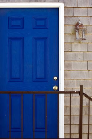 cape cod home: Entrance to typical New England home in Rockport, MA Stock Photo