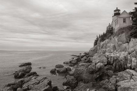 bw: Bass Harbor lighthouse on Maine coast