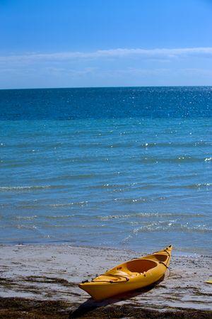 Kayak on sand beach of Bahia Honda state park Stock Photo