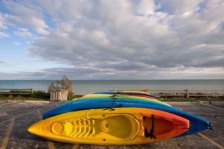 Kayaks on sand beach of Bahia Honda state park, Florida