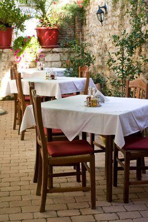 outdoor cafe: Atmospheric Dalmatian restaurant in city of Zadar, Croatia