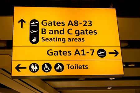 Departure hall of Heathrow International airport, London Stock Photo