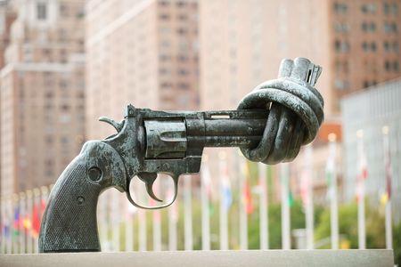 Famous No Violence sculpture at UN headquarters, NYC photo