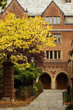 school campus: Jonathan Edwards College of Yale university in fall colors